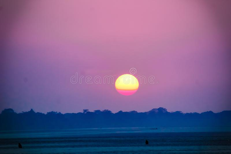 The sunset wallpaper capture at Guwahati Assam India stock photos