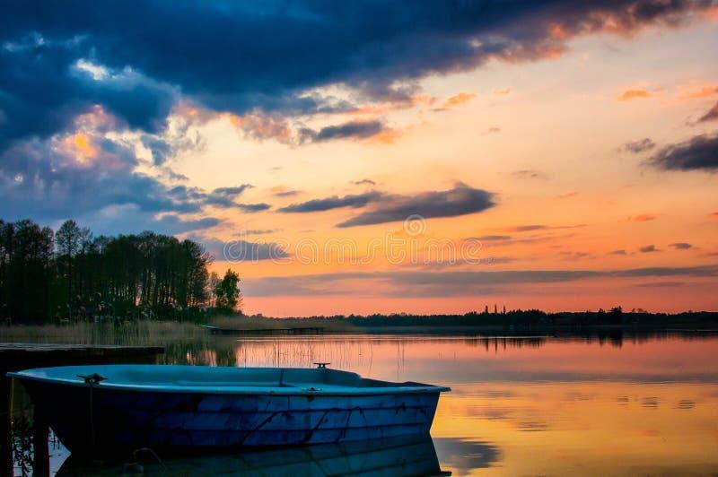 Sunset on the warachala lake stock images