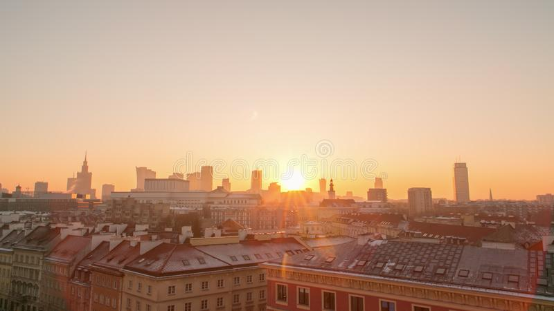 Sunset in the Warsaw City stock photos