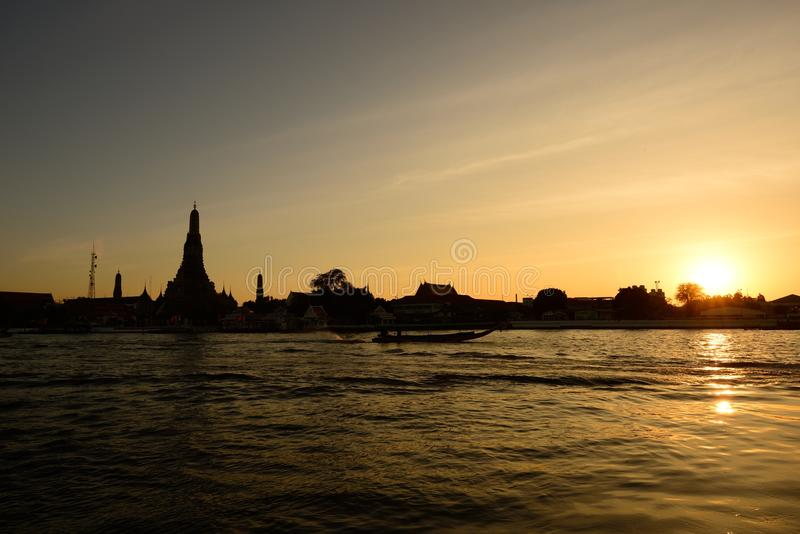 Sunset at Wat Arun Temple, Bangkok Thailand royalty free stock images