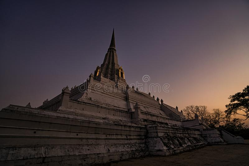 After Sunset at Wat Phu Khao Thong in Ayutthaya Thailand. This is After Sunset at Wat Phu Khao Thong in Ayutthaya Thailand stock photos