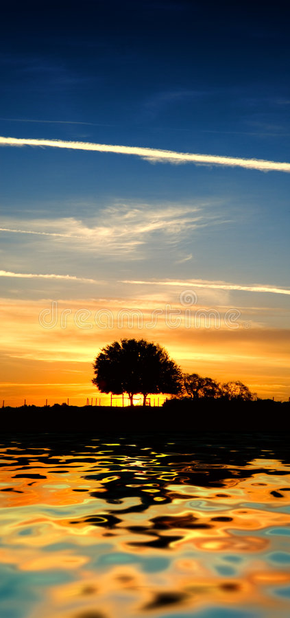 Sunset on water. A elongated view of a silhouette of a tree with a sunset and fence line royalty free stock images