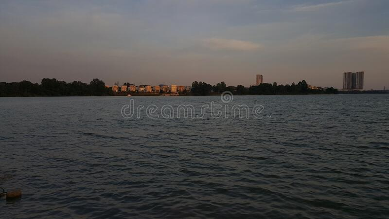 Sunset water form puchong malaysia royalty free stock images