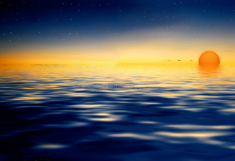 Download Sunset on water reflection stock illustration. Image of colour - 5584429