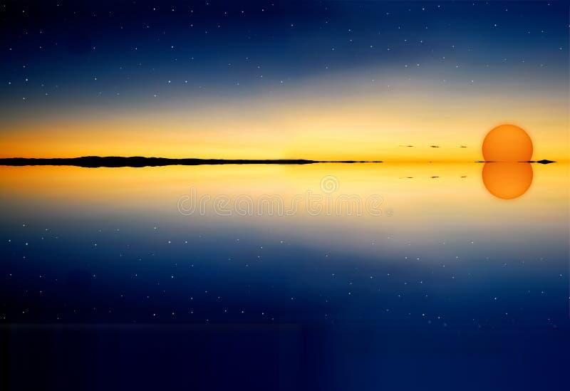 Sunset on water surface vector illustration