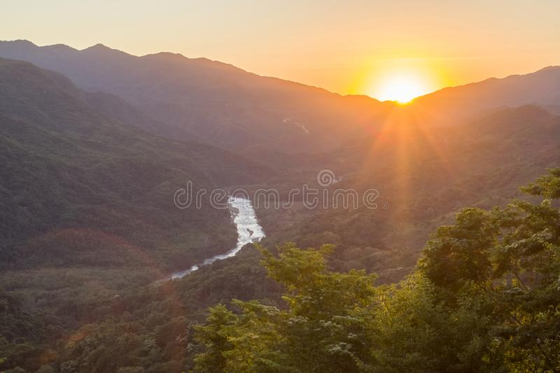 Sunset waterfalls of al Waterfalls of Copalitilla and Llano Grande, Huatulco ,Oaxaca Mexico. Adventure, attraction, background, beautiful, calcium, carbonate royalty free stock images