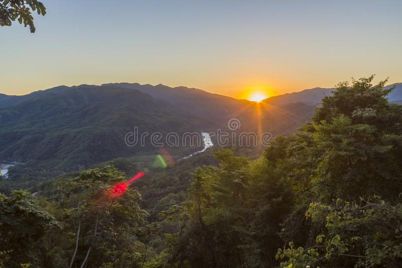 Sunset waterfalls of al Waterfalls of Copalitilla and Llano Grande, Huatulco ,Oaxaca Mexico. Adventure, attraction, background, beautiful, calcium, carbonate royalty free stock image