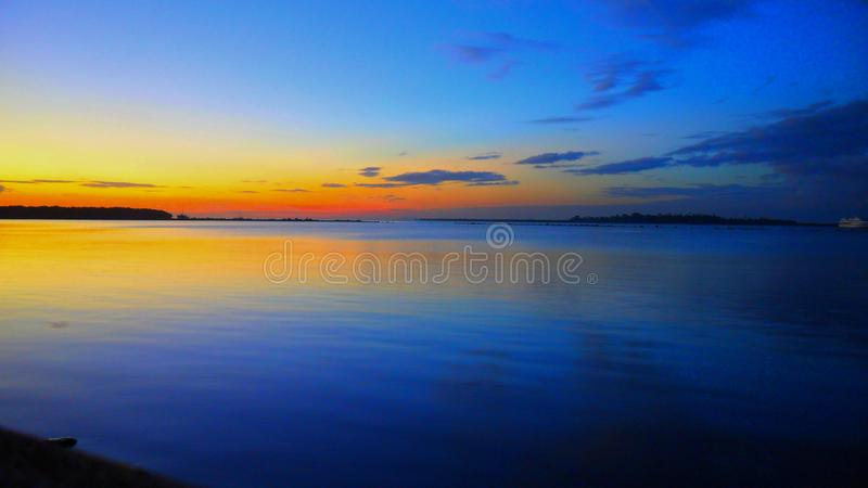 Sunset at the waterfront in Lautoka Fiji Islands. A picturesque sunset at the waterfront in Lautoka in Fiji Islands royalty free stock images
