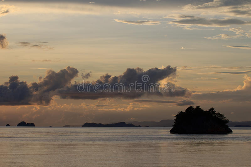 Sunset in Wayilbatan,Raja Ampat. Indonesia royalty free stock image
