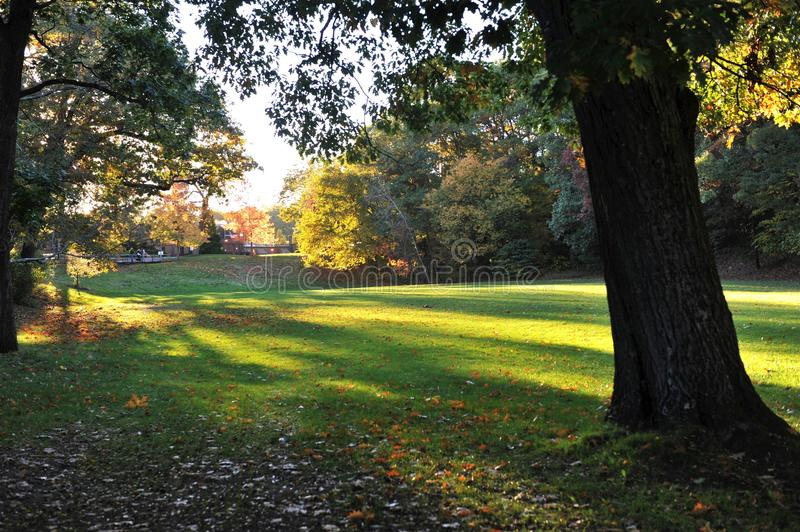 Sunset at Wellesley College. In the town of Wellesley, Massachusetts, USA stock photo
