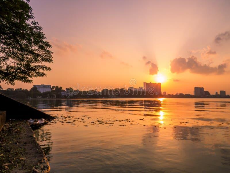 West Lake, Hanoi, Vietnam. Sunset on the West Lake in Hanoi, Vietnam stock photos