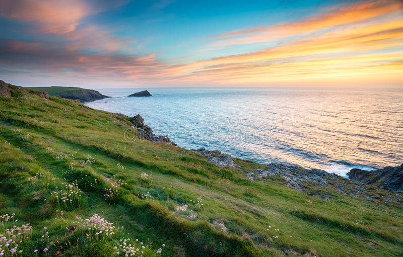 Download Sunset at West Pentire stock image. Image of scenic, seashore - 42172879