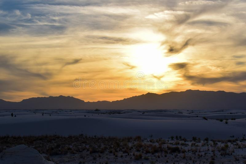 Sunset in White Sands Desert. Sunset in White Sands National Monument in New Mexico, USA. Photo taken in December 2017 royalty free stock photo