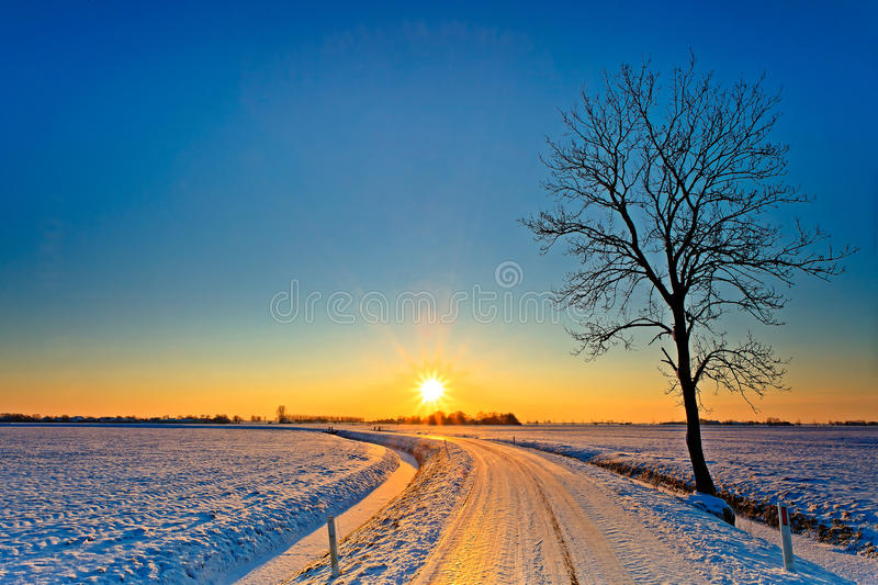 Download Sunset In A White Winter Landscape Stock Image - Image of tree, freezing: 24489419