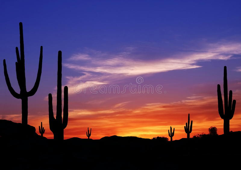 Sunset in Wild West stock image
