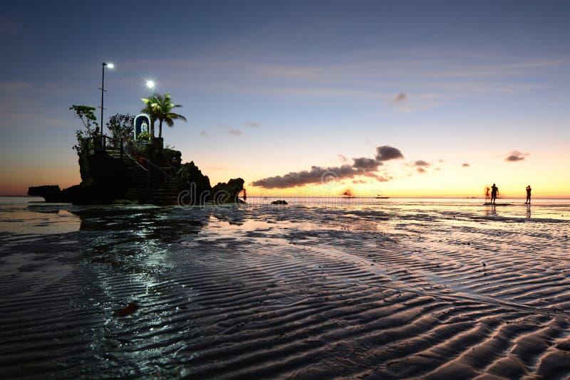 Sunset at Willy Rock. White Beach. Boracay Island. Malay. Aklan. Western Visayas. Philippines. Sunset at Willy's Rock. White Beach. Boracay Island. Malay royalty free stock photos