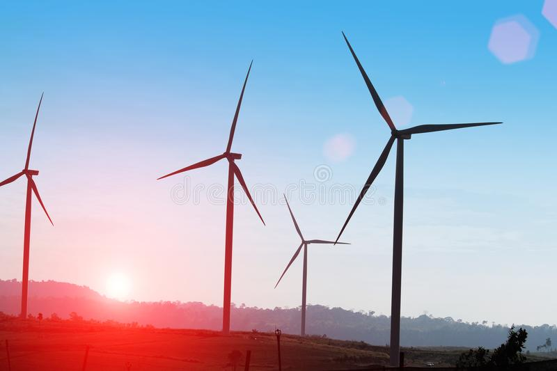 Wind Turbine producing alternative energy stock photography