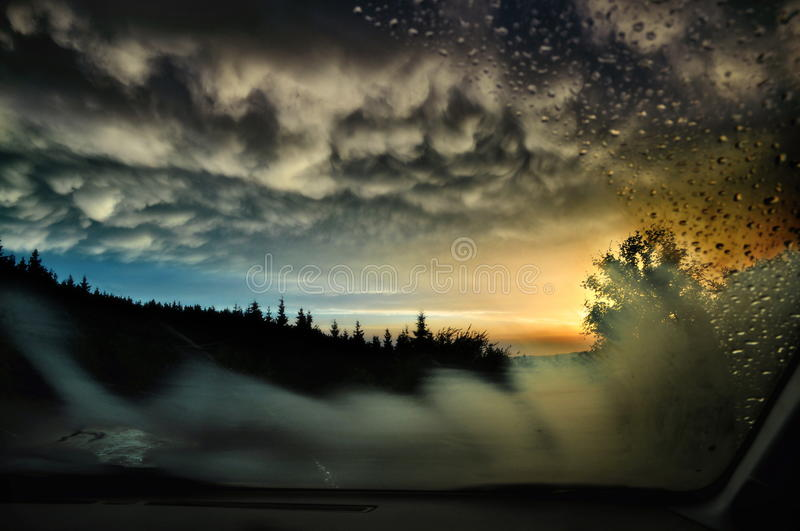 Sunset through windscreen royalty free stock images