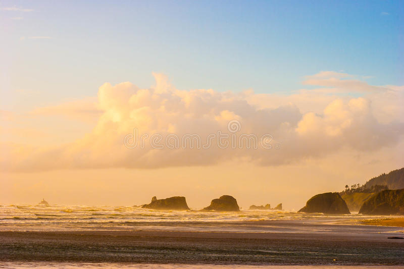 Sunset in a Windy Ocean royalty free stock photography