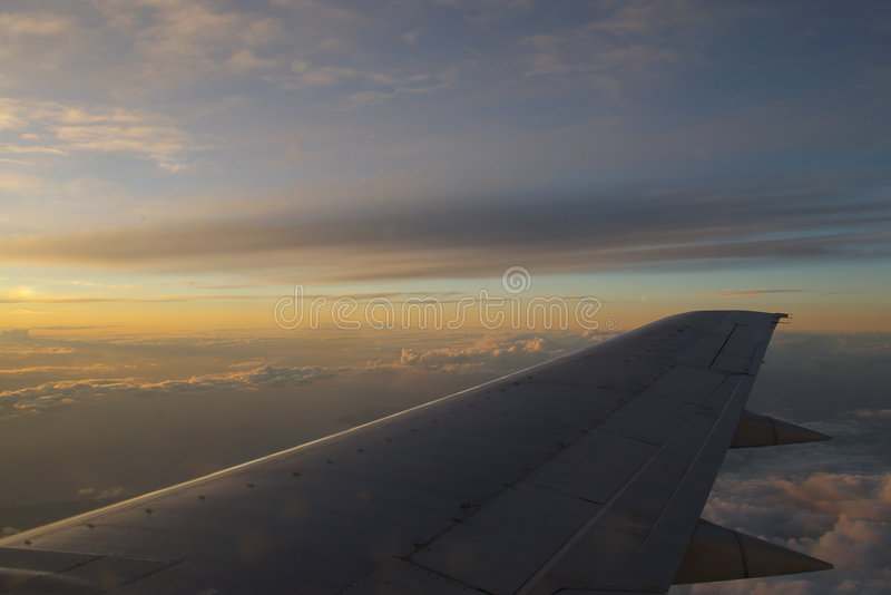 Download Sunset wing stock image. Image of final, flight, night - 515651