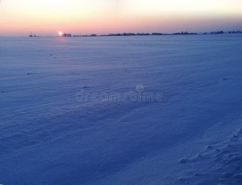 Sunset in winter fields stock image