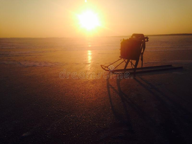 Sunset at winter royalty free stock photo
