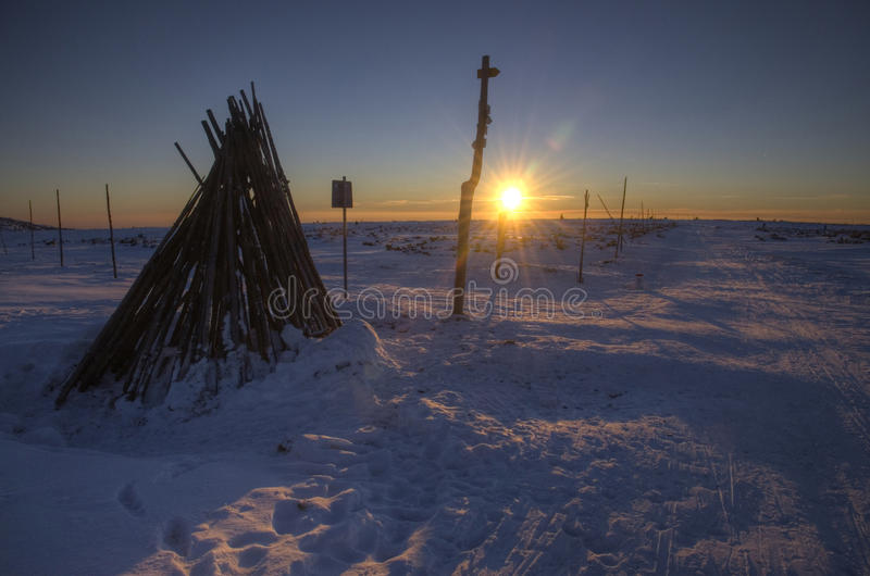 Sunset in winter mountains stock image