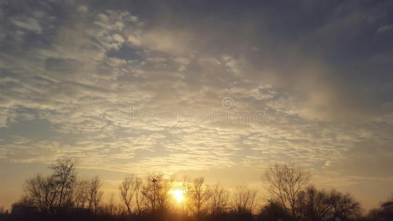 Sunset of winter royalty free stock photo