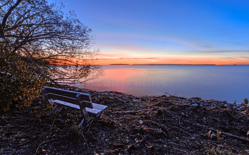 Sunset in Wisconsin. Green Bay Area. The Lake Michigan stock photos
