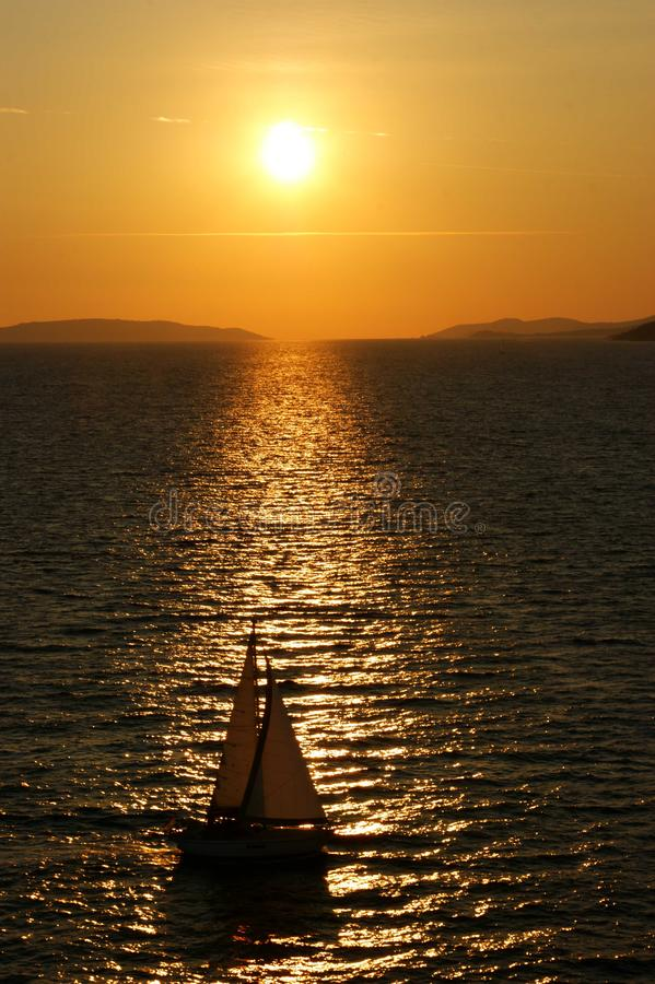 Free Sunset With Boat On Adriatic Sea Stock Photography - 129686172