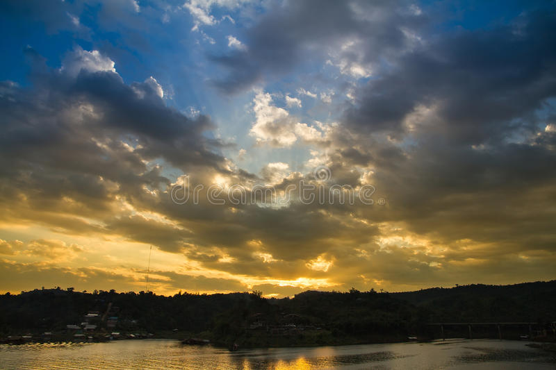 Download Sunset At The Wooden Bridge (Mon Bridge) Over The River In Sunse Stock Image - Image of freedom, twilight: 83705219