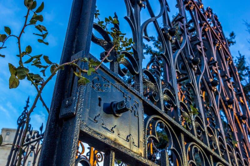 Sunset on Wrought Iron Gate stock photo
