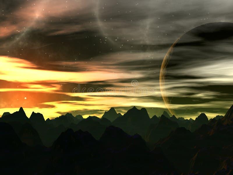 Sunset on Xilis 8 vector illustration