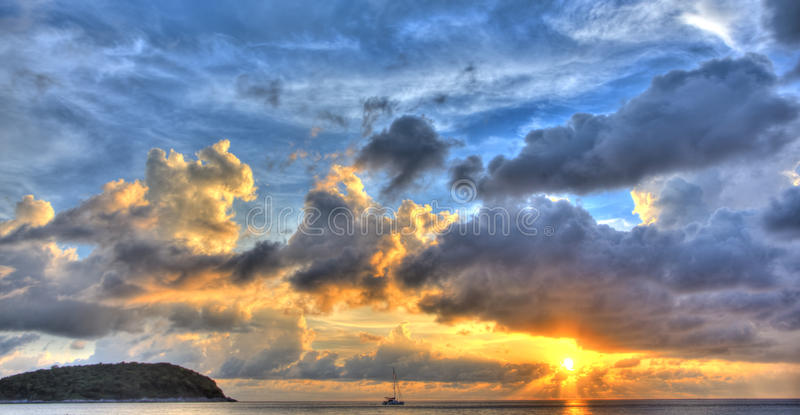 Sunset with Yacht III stock photos