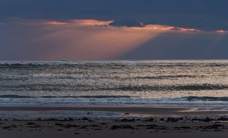 Sunset at Ynyslas 2. Sunset and seascape at Ynyslas, near Borth, Ceredigion, Mid Wales royalty free stock photo