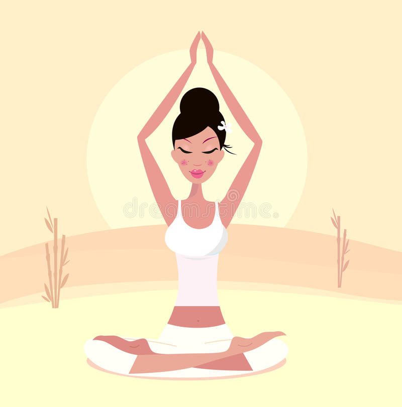 Download Sunset Yoga : Relaxing Retro Woman In Lotus Pose Stock Vector - Image: 17765883