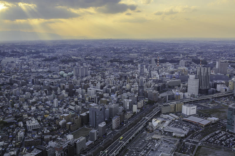 Sunset in Yokohama. The view from de Yokohama sky building is wonderful. Photo taken on: April 12, 2013 royalty free stock image