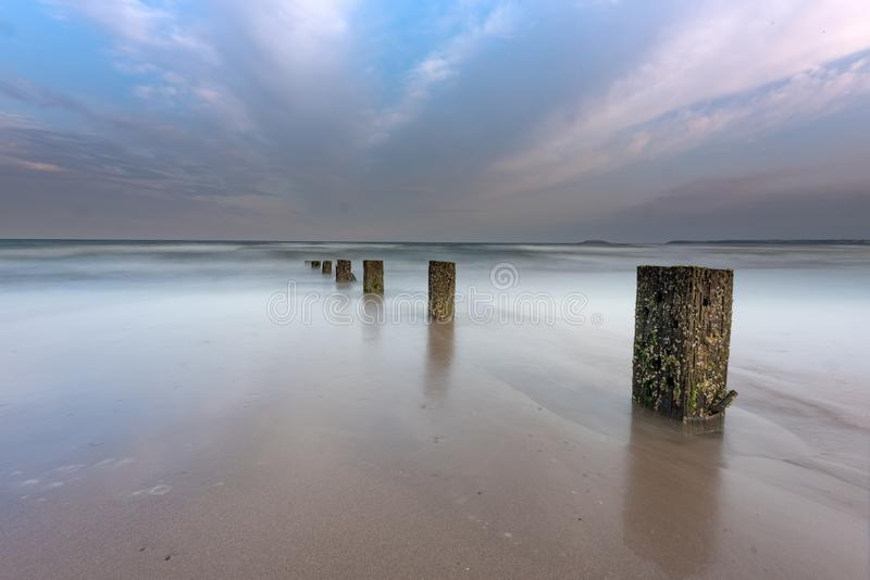 Sunset on Youghal Strand royalty free stock image