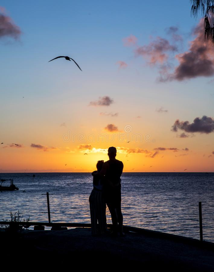 Sunset with a young loving couple in silhouettes. Romantic young couple standing by the ocean at sunset, with blue and yellow sky and some clouds, and a bird stock images