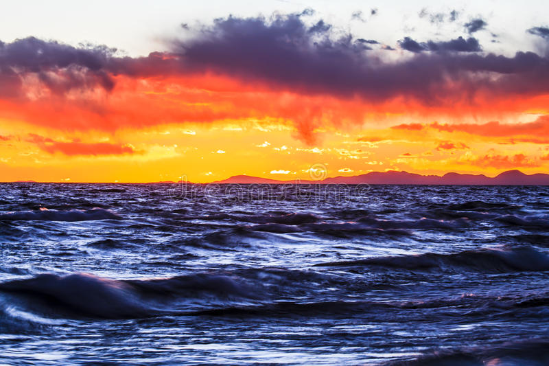 Sunset in Zhaxi island by Namtso Lake royalty free stock photo