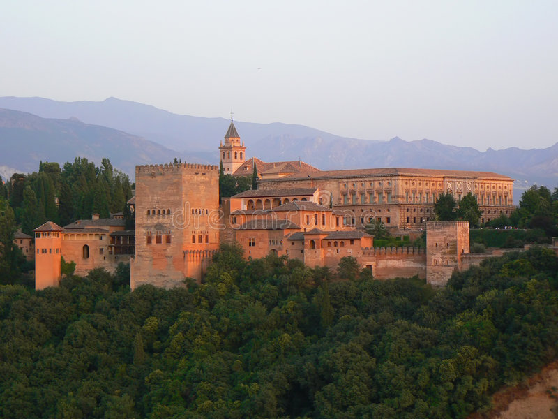 Sunsetdetail de Alhambra imagens de stock