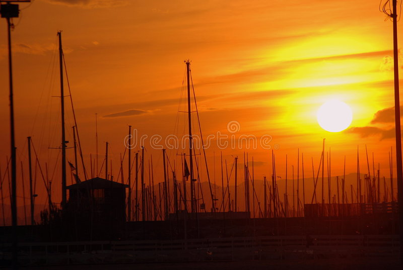 Sunsets. At port El Masnou, Barcelona royalty free stock photos