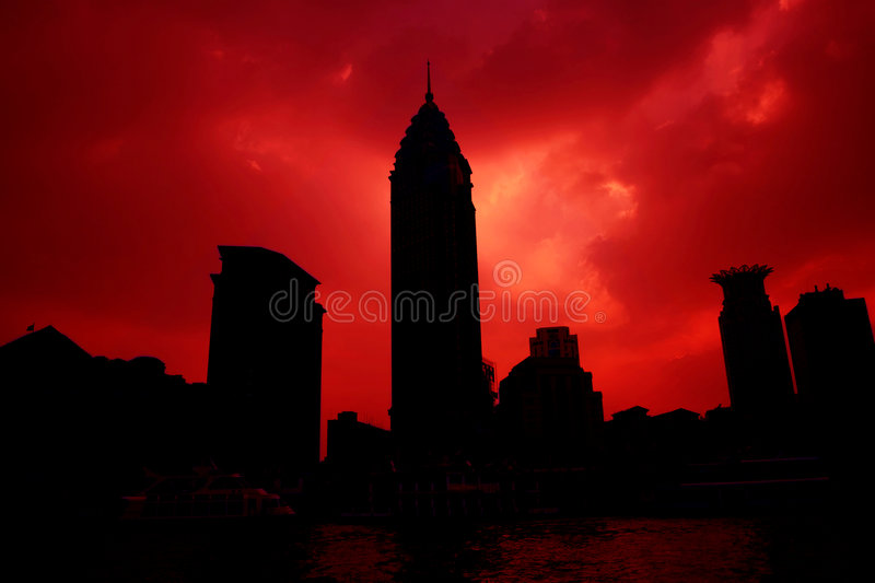 Sunsets of city. The modern building in shanghai with sunsets background stock photos