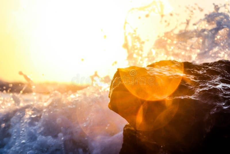 Waves on ocean rocks royalty free stock photo