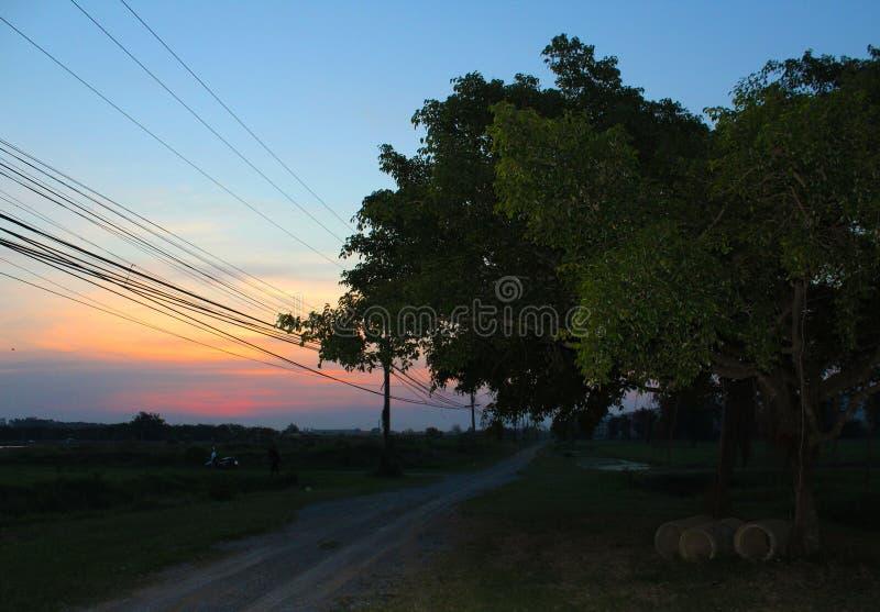 Sunsets at Kasetsart University Kamphaeng Saen. Landscape photography in Nakhon Pathom, Thailand right outside of Bangkok. These photos were taken at Kasetsart royalty free stock images