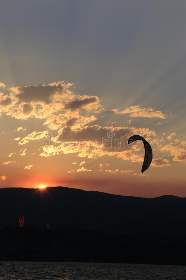 Sunsets with smoky sky -Kelowna, B.C. Tourism. Sunsets are a popular site when travelling through North America. This picture was designed to used as a front stock photos