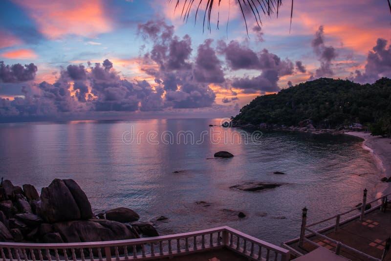 Sunsets and sunrises at Cristal Bay, Samui, Thailand. Amazing scenic Sunsets and sunrises at Cristal Bay, Samui, Thailand stock image