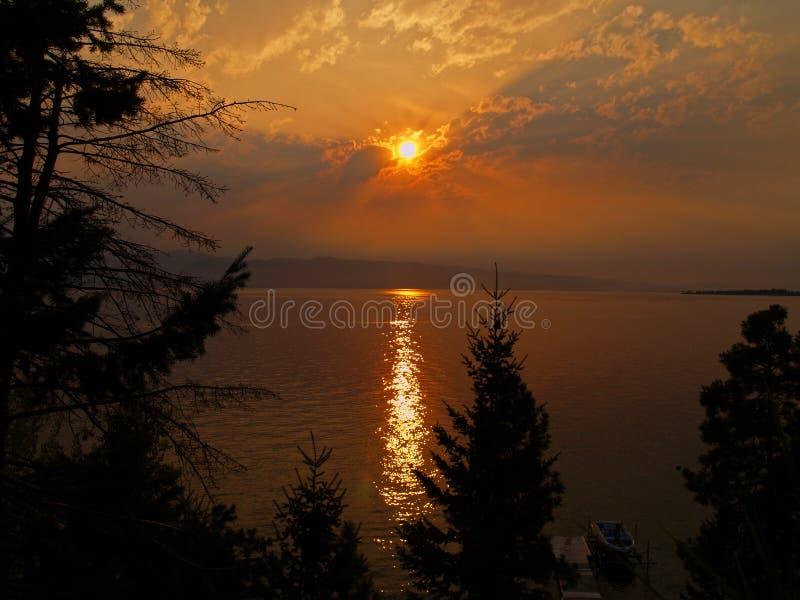 Sunsetting Through the Smoke stock image