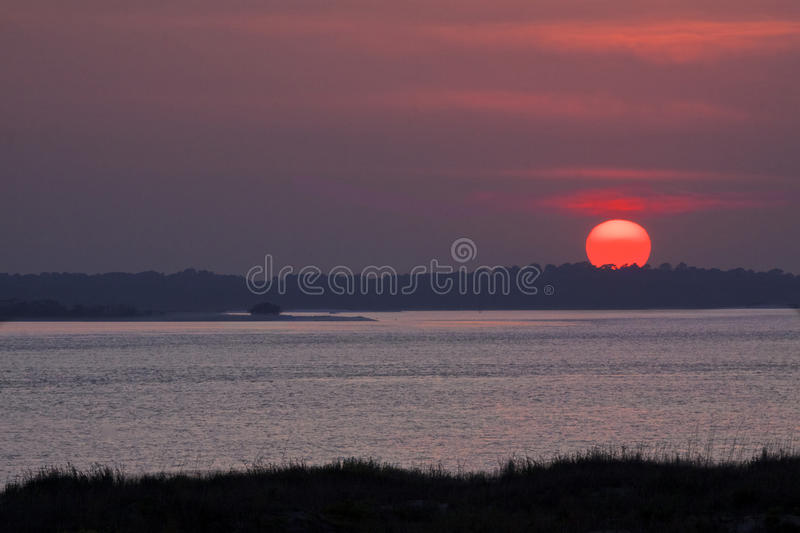 Sunsetting viewed from Pelican Watch on Seabrook Island royalty free stock photo