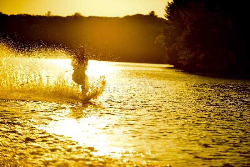 Sunsetwaterski stockbilder